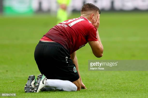 Waldemar Anton of Hannover reacts during the Bundesliga match between Hannover 96 and 1 FC Koeln at HDIArena on September 24 2017 in Hanover Germany