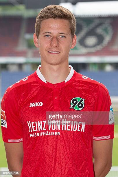 Waldemar Anton poses during a team presentation for Hannover 96 at HDIArena on July 13 2015 in Hanover Germany