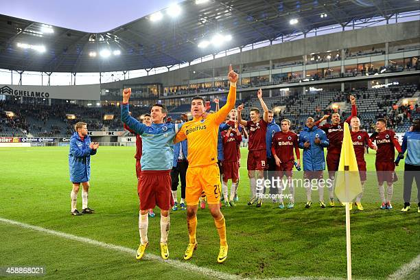 Waldemar Sobota of Club Brugge and Goalkeeper Matthew Ryan of Club Brugge celebrate the victory after the Jupiler League match between KAA Gent and...
