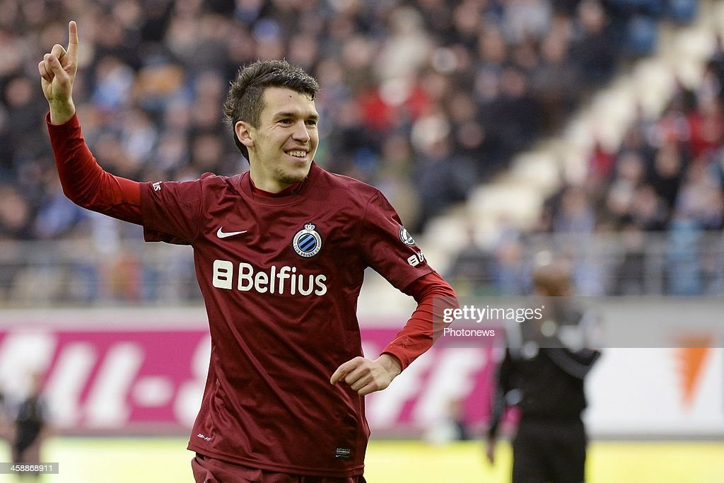 Waldemar Sobota of Club Brugge celebrates after scoring his second goal during the Jupiler League match between KAA Gent and Club Brugge on December 22, 2013 at the Ghelamco arena in Gent, Belgium.