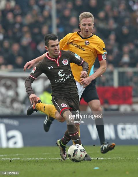Waldemar Sobota of St Pauli and Marco Hartmann of Dynamo Dresden battle for the ball during the Second Bundesliga match between FC St Pauli and SG...