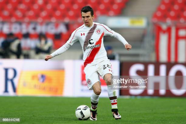 Waldemar Sobota of St Pauli runs with the ball during the Second Bundesliga match between 1 FC Nuernberg and FC St Pauli at Arena Nuernberg on April...