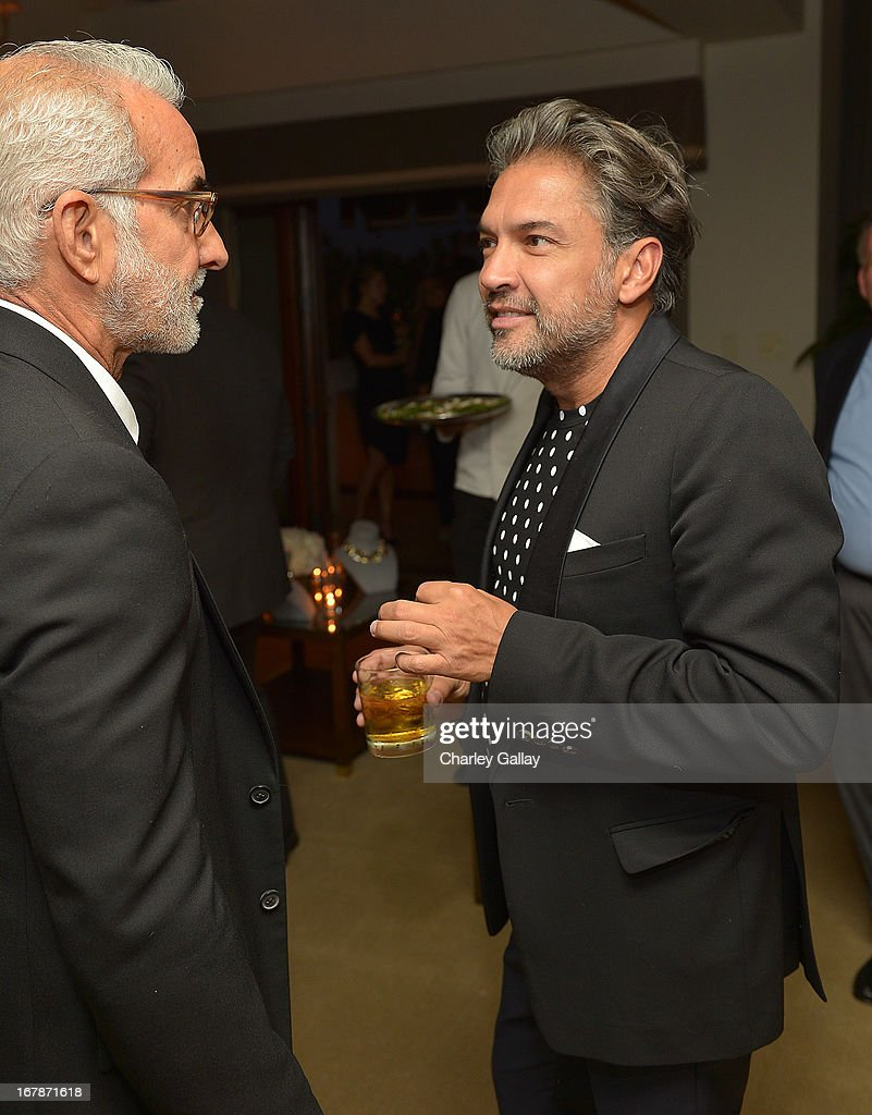 Waldo Fernandez (L) and Carlos Mota attend the David Webb Dinner in honor of LAXART at Sunset Tower on May 1, 2013 in West Hollywood, California.