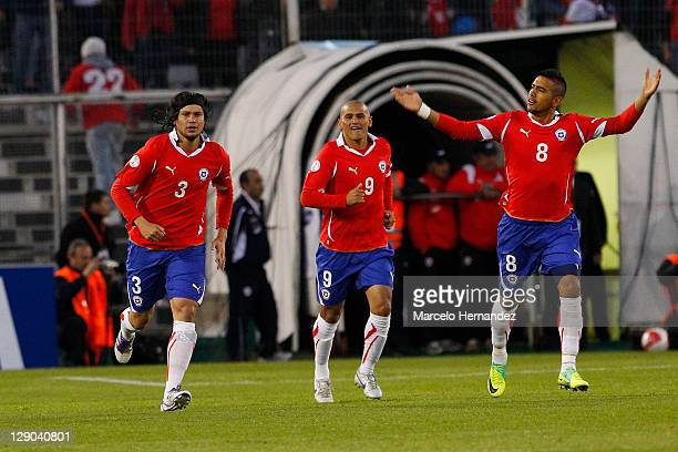 Waldo Ponce from Chile celebrates his goal aganist Peru during the match between Chile and Peru as part of the first round of the South American...
