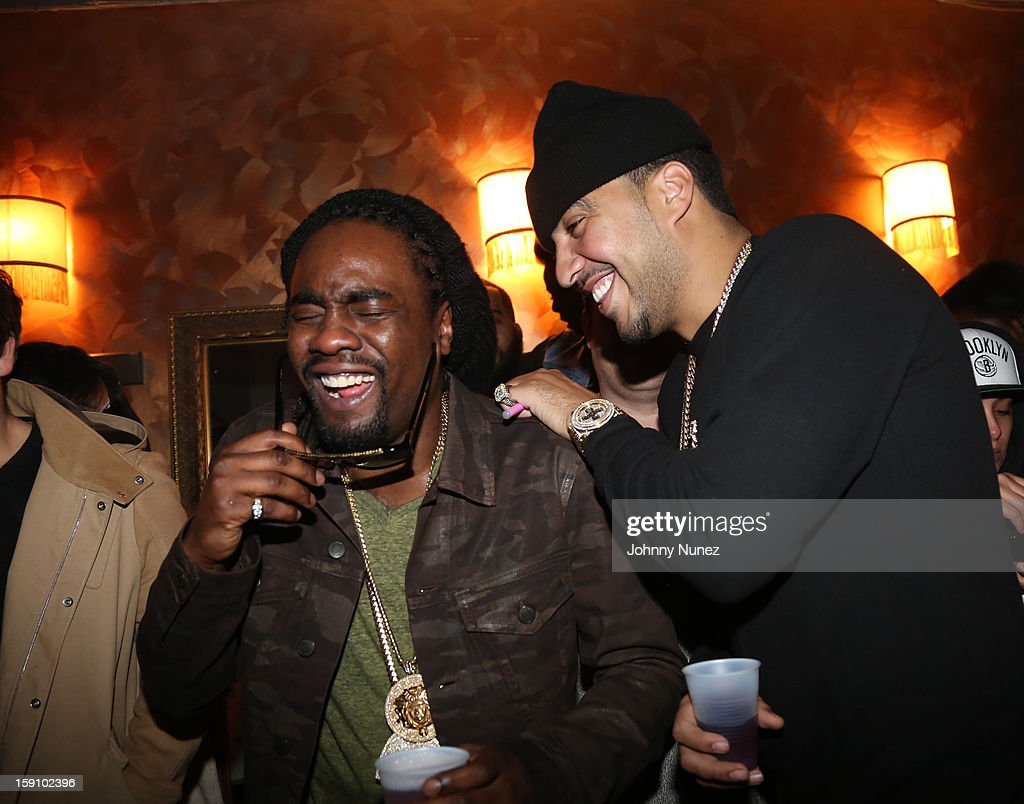 Wale and French Montana attend backstage at the Bowery Ballroom on January 7, 2013 in New York City.