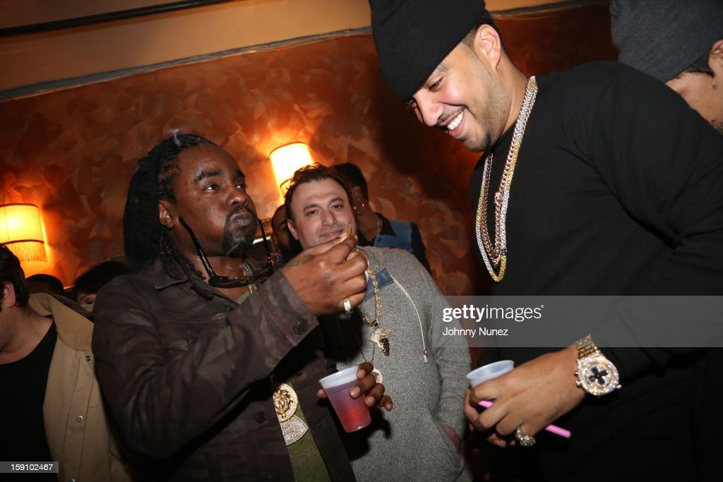 <a gi-track='captionPersonalityLinkClicked' href=/galleries/search?phrase=Wale+-+Rapper&family=editorial&specificpeople=8770277 ng-click='$event.stopPropagation()'>Wale</a> and <a gi-track='captionPersonalityLinkClicked' href=/galleries/search?phrase=French+Montana&family=editorial&specificpeople=7131467 ng-click='$event.stopPropagation()'>French Montana</a> attend backstage at the Bowery Ballroom on January 7, 2013 in New York City.