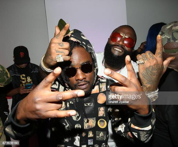 Wale and Rick Ross attend Inside Wale's 'Shine' Listening Event at Genius Event Space on April 26 2017 in New York City