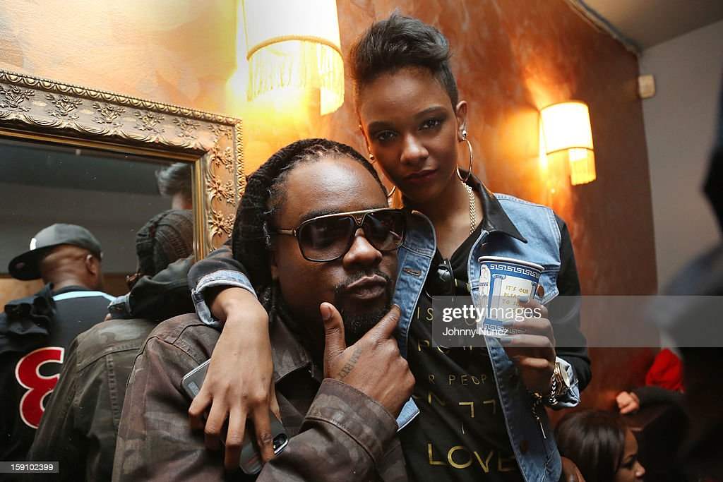 <a gi-track='captionPersonalityLinkClicked' href=/galleries/search?phrase=Wale+-+Rapper&family=editorial&specificpeople=8770277 ng-click='$event.stopPropagation()'>Wale</a> and Tiara Thomas attend backstage at the Bowery Ballroom on January 7, 2013 in New York City.
