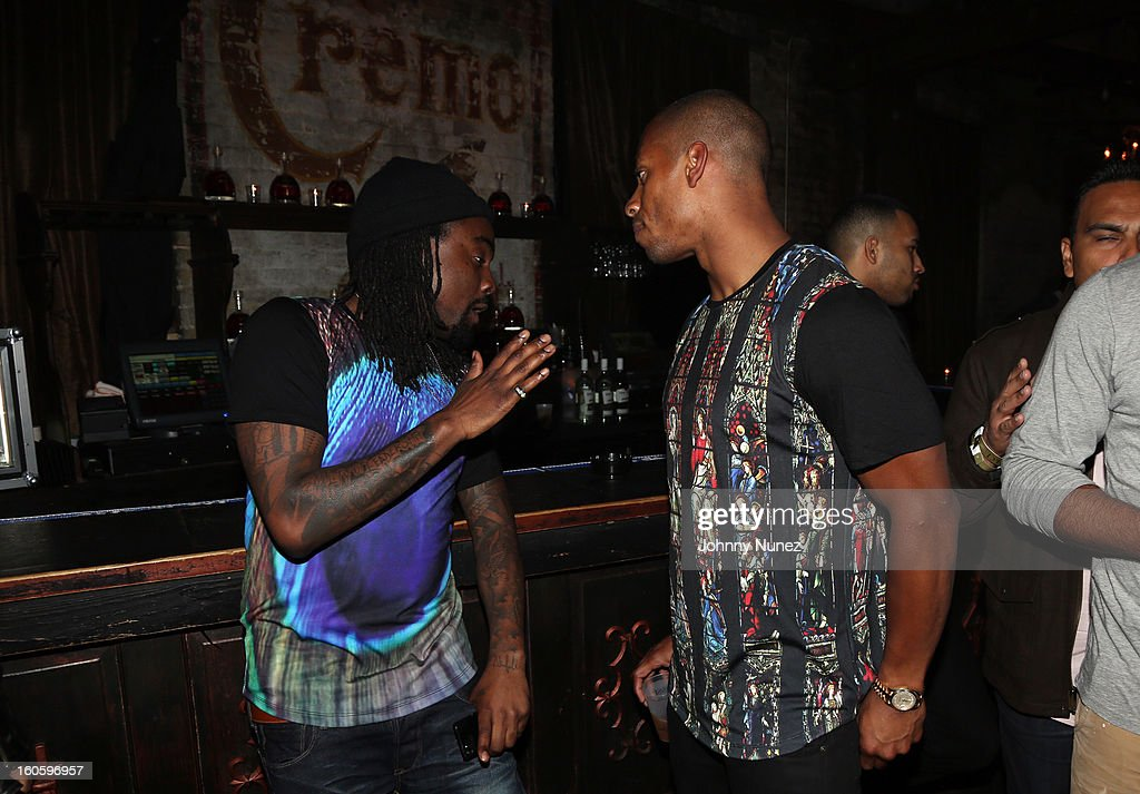 Wale and Victor Cruz attend the Jay-Z & D'Usse Super Bowl Party at The Republic on February 2, 2013, in New Orleans, Louisiana.