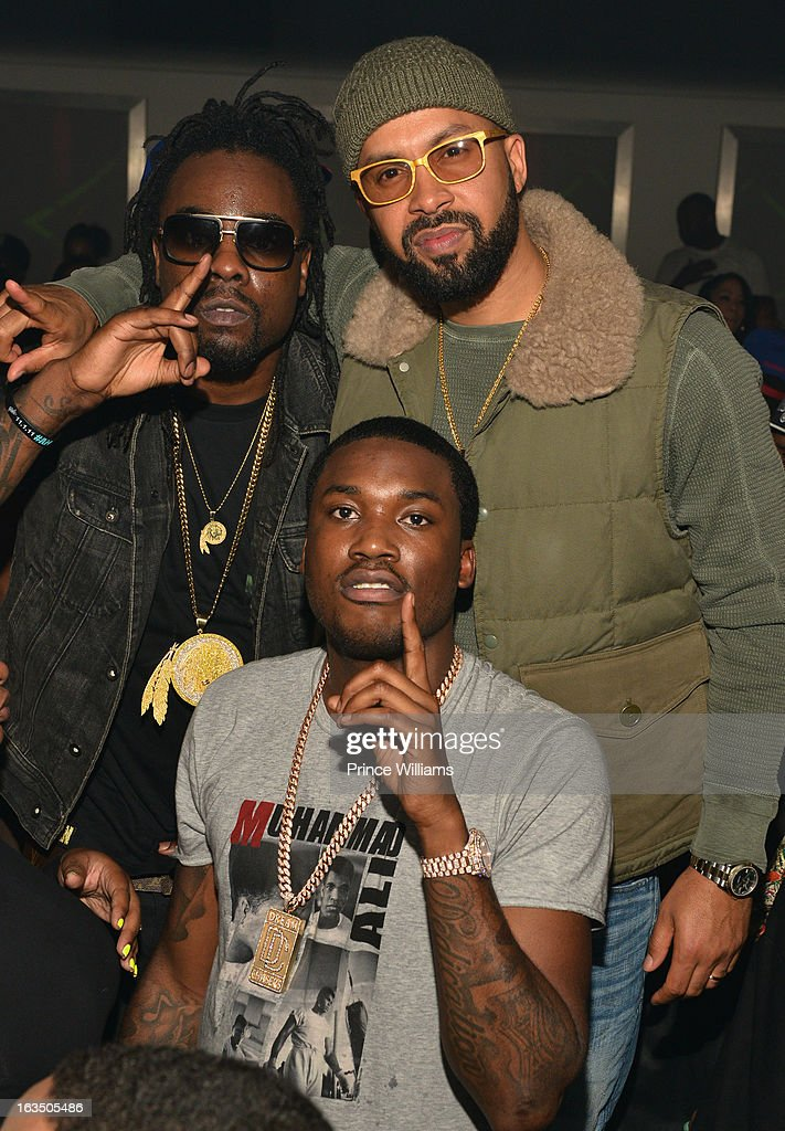 <a gi-track='captionPersonalityLinkClicked' href=/galleries/search?phrase=Wale+-+Rapper&family=editorial&specificpeople=8770277 ng-click='$event.stopPropagation()'>Wale</a>, Kenny Burns and <a gi-track='captionPersonalityLinkClicked' href=/galleries/search?phrase=Meek+Mill&family=editorial&specificpeople=7187702 ng-click='$event.stopPropagation()'>Meek Mill</a> attend at Compound on March 9, 2013 in Atlanta, Georgia.