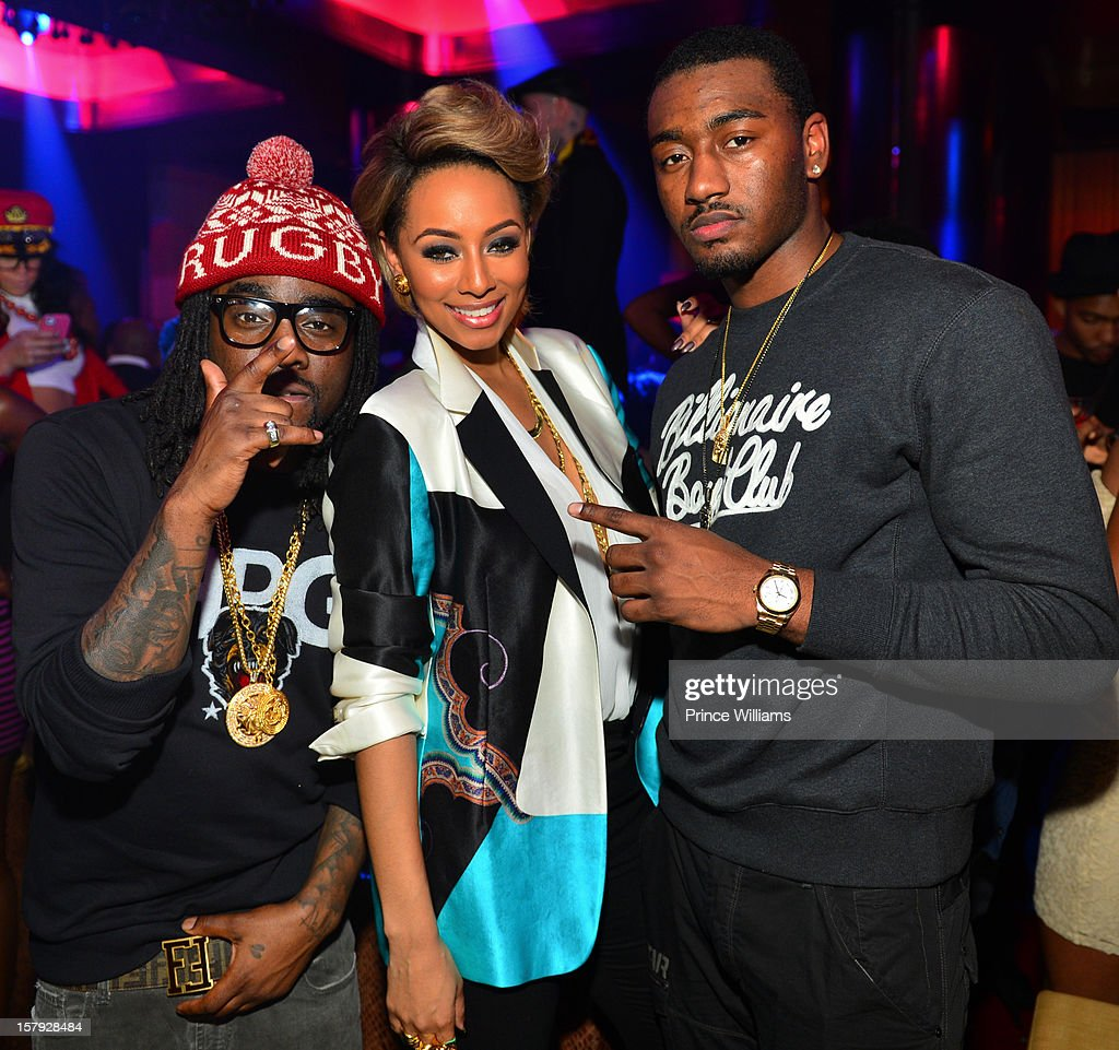 Wale, Keri Hilson and John Wall attend the birthday celebration of Keri Hilson at Vanquish on December 6, 2012 in Atlanta, Georgia.