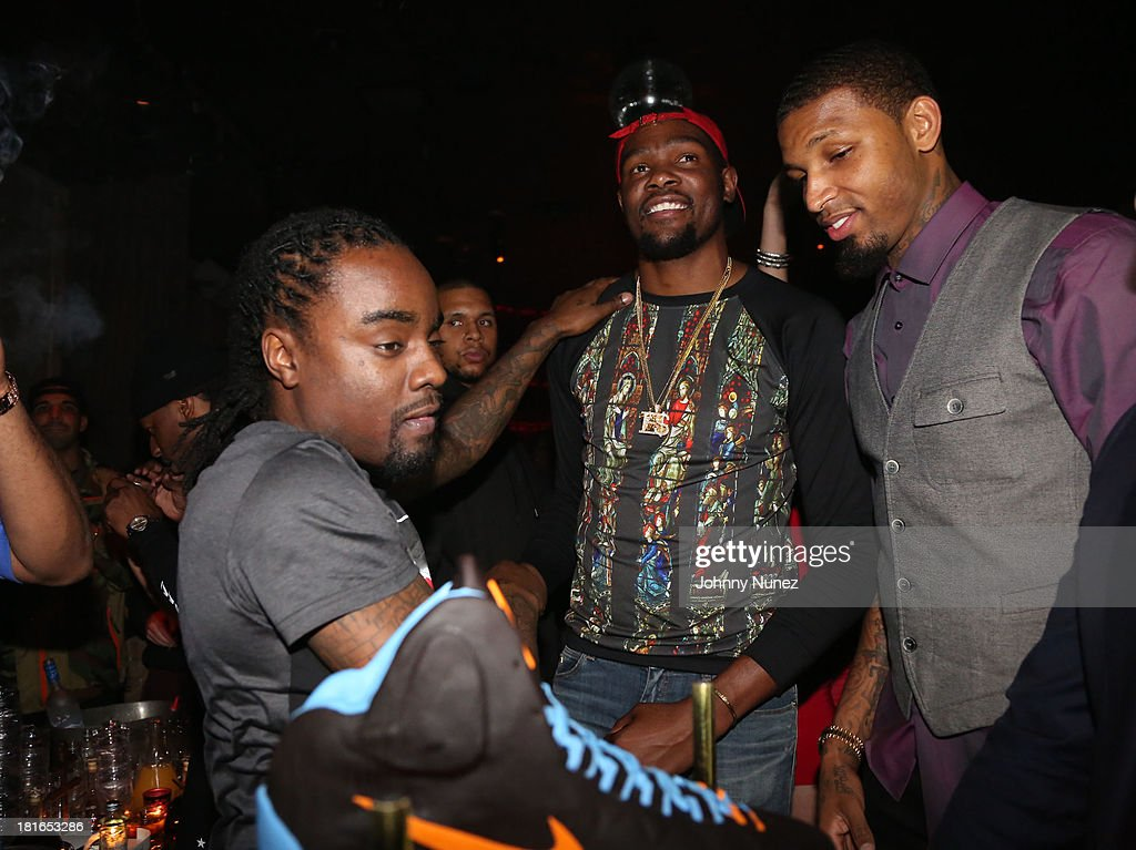 Wale, Kevin Durant and Cliff Dixon attend Kevin Durant's 25th Birthday Party Avenue Club on September 22, 2013 in New York City.
