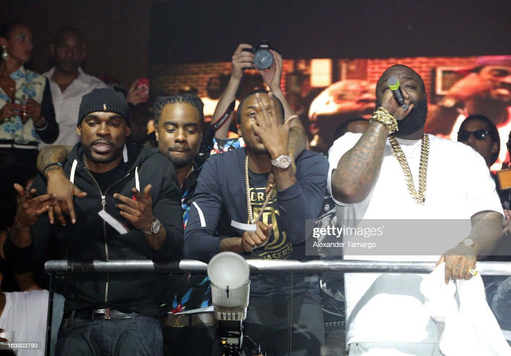 Wale, Meek Mill and Rick Ross are seen at the Reebok Classic white party hosted by Rick Ross at LIV nightclub at Fontainebleau Miami on March 10, 2013 in Miami Beach, Florida.