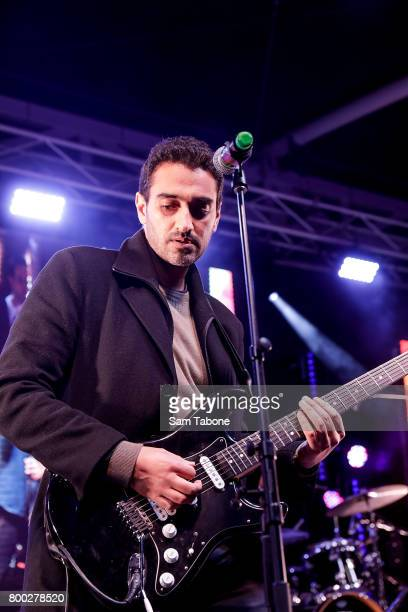 Waleed Aly and his Band Robot Child perform at Winter Solstice Festival Of Welcome at Federation Square on June 24 2017 in Melbourne Australia