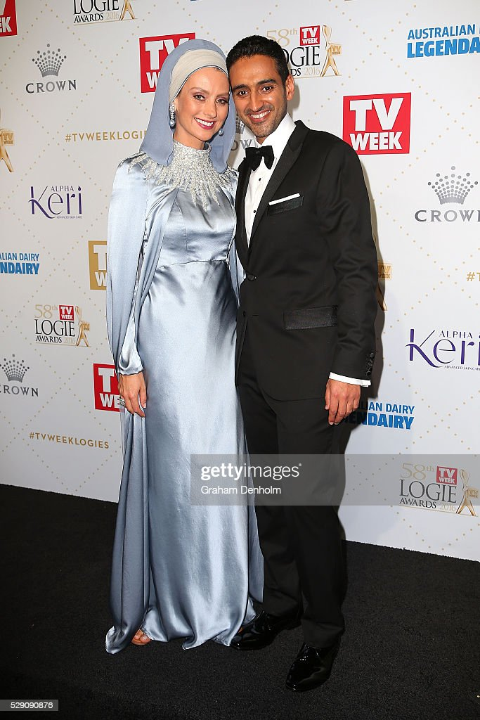 Waleed Aly and wife Susan Carland arrive at the 58th Annual Logie Awards at Crown Palladium on May 8, 2016 in Melbourne, Australia.