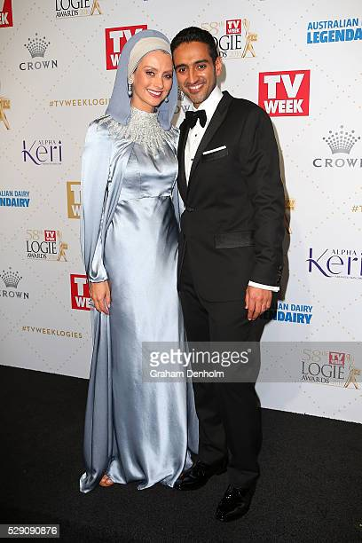 Waleed Aly and wife Susan Carland arrive at the 58th Annual Logie Awards at Crown Palladium on May 8 2016 in Melbourne Australia