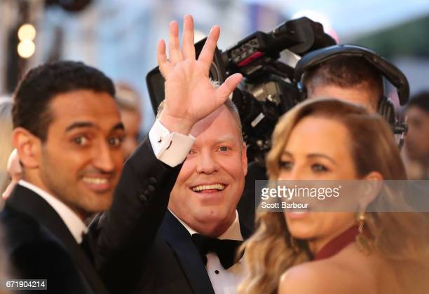 Waleed Aly Carrie Bickmore and Peter Helliar arrive at the 59th Annual Logie Awards at Crown Palladium on April 23 2017 in Melbourne Australia