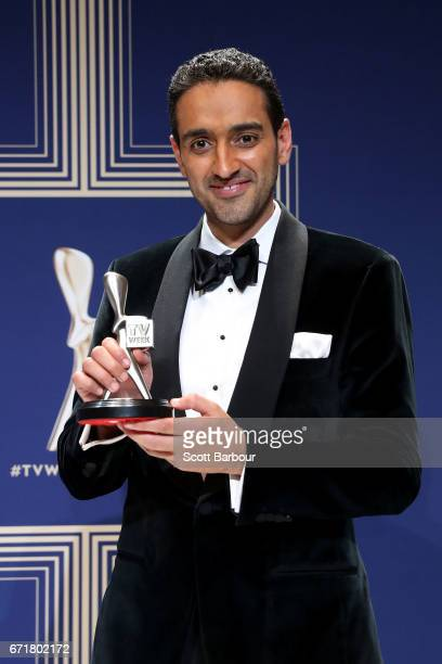 Waleed Aly poses with the Logie Award for Best Presenter during the 59th Annual Logie Awards at Crown Palladium on April 23 2017 in Melbourne...