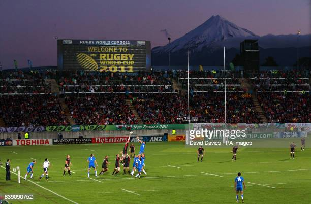 Wales and Namibia players contest the line out under the backdrop of Mount Taranaki during the IRB Rugby World Cup match at the Stadium Taranaki New...