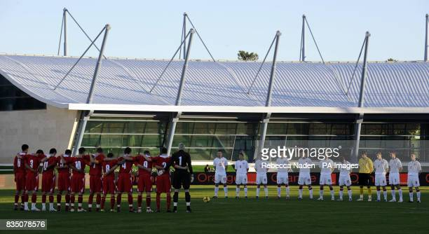 Wales and Poland observe a minutes silence before the International Friendly at the Vila Real De Santo Antonio Sports Complex Portugal