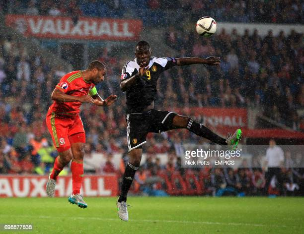 Wales' Ashley Williams and Belgium's Christian Benteke battle for the ball