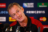 Wales attack coach Rob Howley talks to the media during a Press Conference at Oatlands Park Hotel on October 13 2015 in Weybridge England