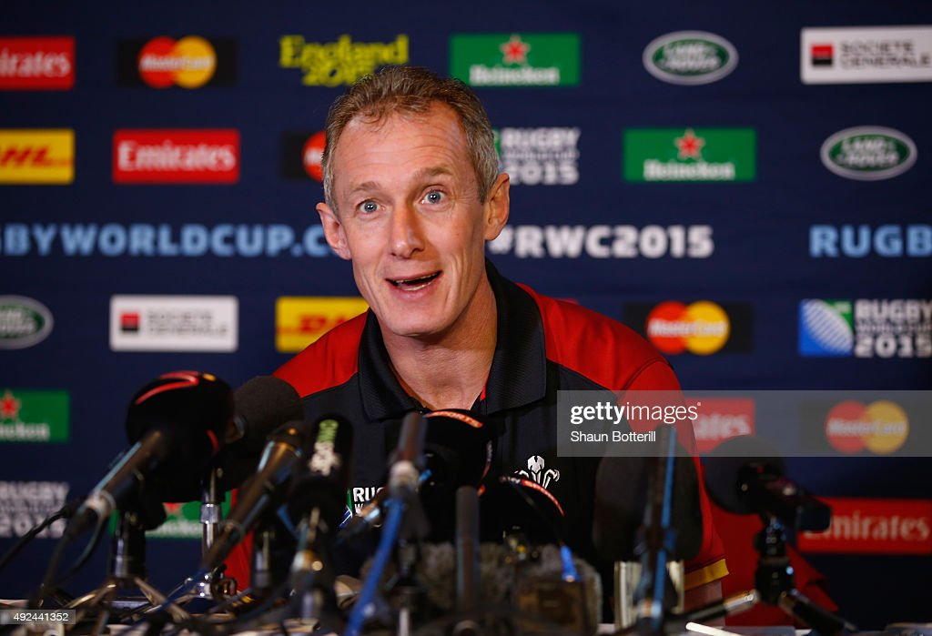 Wales attack coach <a gi-track='captionPersonalityLinkClicked' href=/galleries/search?phrase=Rob+Howley&family=editorial&specificpeople=215419 ng-click='$event.stopPropagation()'>Rob Howley</a> talks to the media during a Press Conference at Oatlands Park Hotel on October 13, 2015 in Weybridge, England.