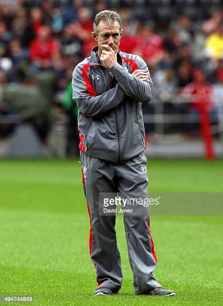 Wales backs coach Rob Howley instructs the Probables during the Wales Senior Trial between Probables v Possibles at Liberty Stadium on May 30 2014 in...