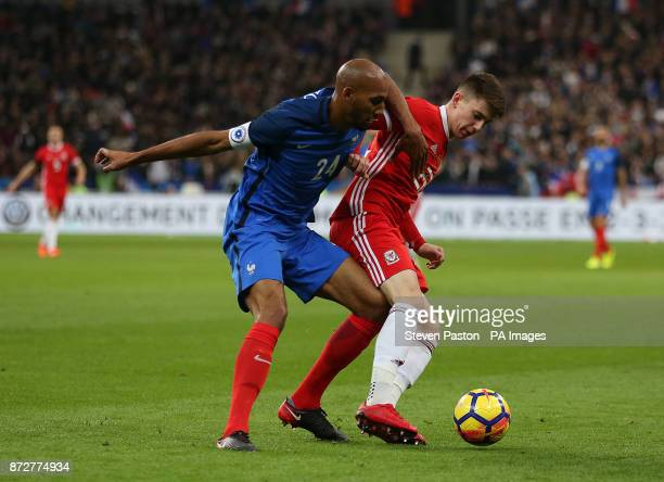 Wales Ben Woodburn and France Seven Nzonzi in action during the International Friendly match at the Stade de France Paris