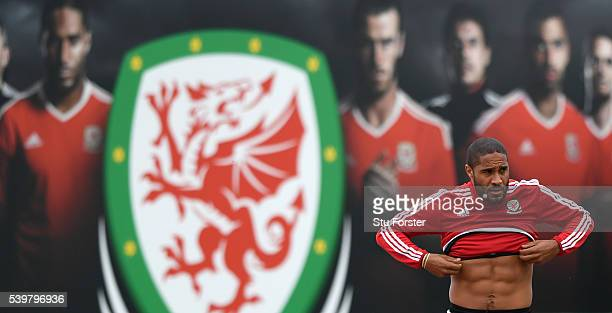 Wales captain Aashley Williams arrives for Wales training at their Euro 2016 base camp on June 13 2016 in Dinard France