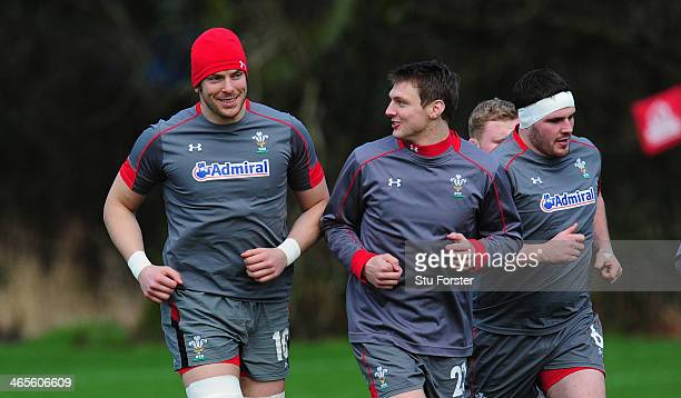 Wales captain Alun Wyn Jones and Dan Biggar share a joke during Wales training ahead of their RBS Six Nations match against Italy on saturday at the...