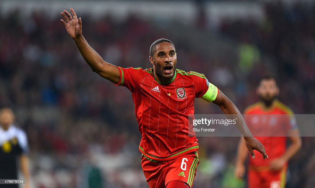 Wales captain Ashley Williams in action during the UEFA EURO Group B 2016 Qualifier between Wales and Belguim at Cardiff City stadium on June 12 2015...