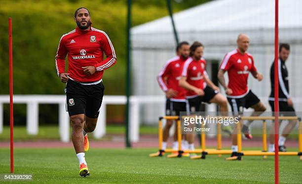 Wales captain Ashley Williams in action during Wales training at their Euro 2016 base camp ahead of their Quarter Final match against Belguim on June...