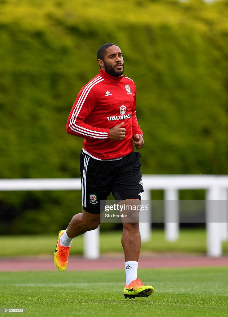 Wales captain <a gi-track='captionPersonalityLinkClicked' href=/galleries/search?phrase=Ashley+Williams+-+Soccer+Player&family=editorial&specificpeople=13495389 ng-click='$event.stopPropagation()'>Ashley Williams</a> in action during Wales training at their Euro 2016 base camp ahead of their Quarter Final match against Belguim, on June 28, 2016 in Dinard, France.