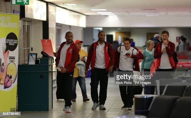 Wales captain Ashley Williams with Jason Brown Joe Allen and Ben Davies at Cardiff International Airport prior to departing for Croatia PRESS...