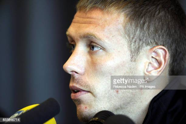 Wales captain Craig Bellamy during a press conference at the team hotel in Rimini Italy