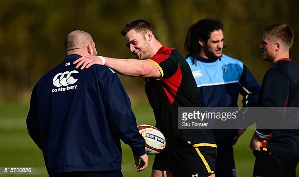 Wales captain Dan Lydiate shares a joke with Cardiff Blues front row Craig Mitchell during training ahead of their RBS 6 Nations match against Italy...