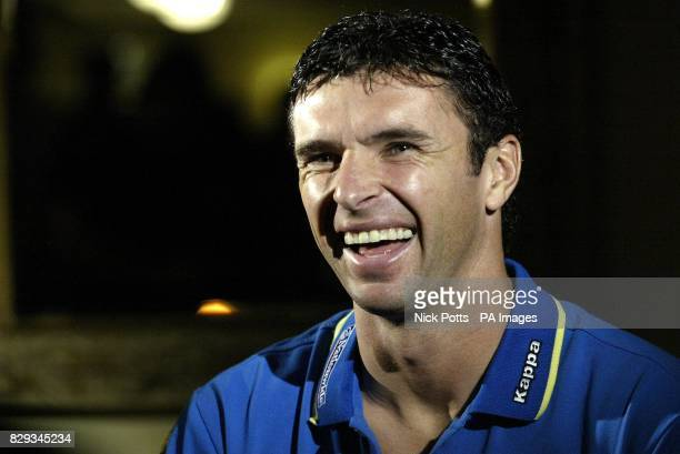 Wales captain Gary Speed gives a large smile when asked his chances of him becoming the next Wales manager after Mark Hughes at the Vale of Glamorgan...