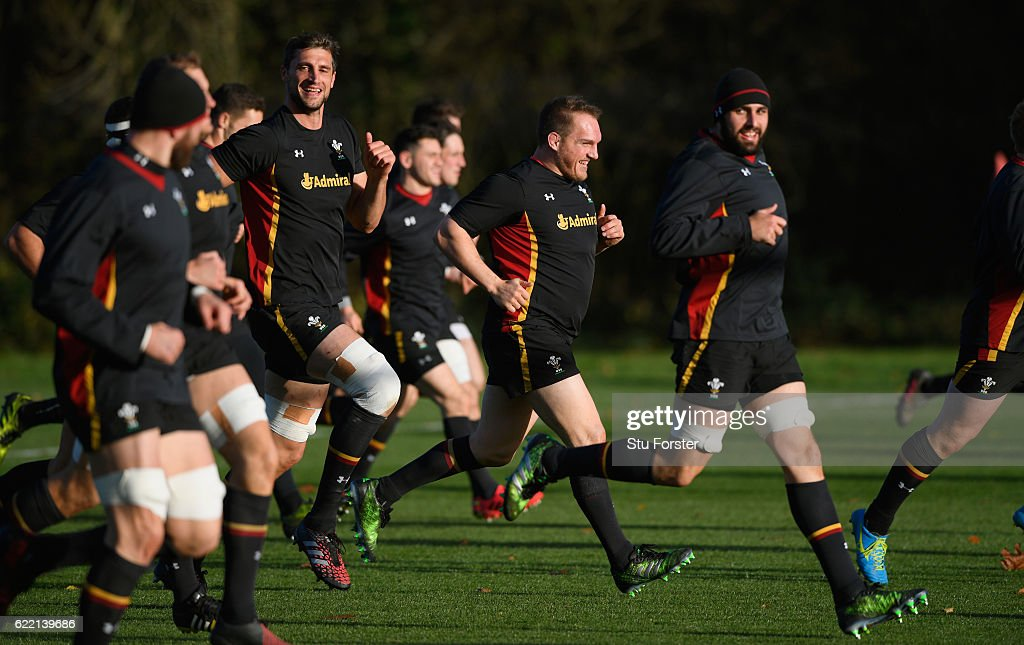 Wales captain Gethin Jenkins (c) shares a joke with team mates during Wales training in the build up to the international match against Argentina at the Vale on November 10, 2016 in Cardiff, Wales.