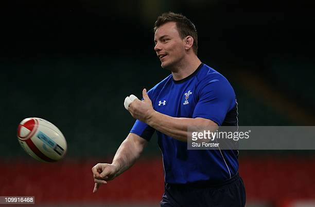 Wales captain Matthew Rees in action during Wales training at the Millennium Stadium on March 10 2011 in Cardiff Wales