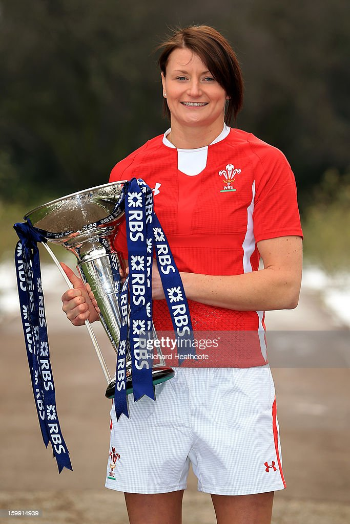 Wales captain Rachel Taylor poses with the Women's Six Nations trophy during the RBS Six Nations launch at The Hurlingham Club on January 23, 2013 in London, England.