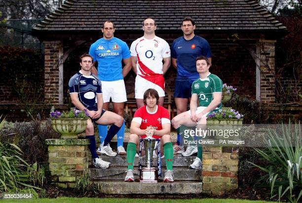 Wales captain Ryan Jones holds the RBS Six Nations Trophy as he and fellow captains Mike Blair of Scotland Sergio Parisse of Italy Steve Borthwick of...