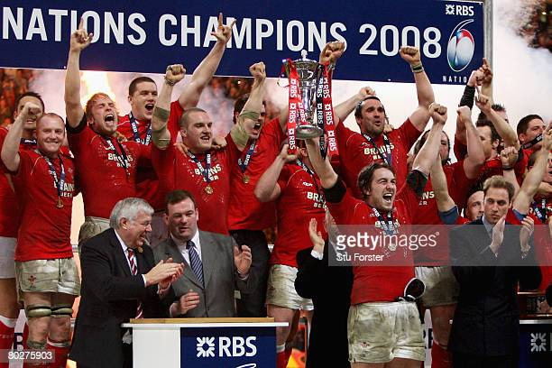 Wales Captain Ryan Jones holds the trophy as his team celebrate winning the RBS Six Nations Championship match between Wales and France at the...