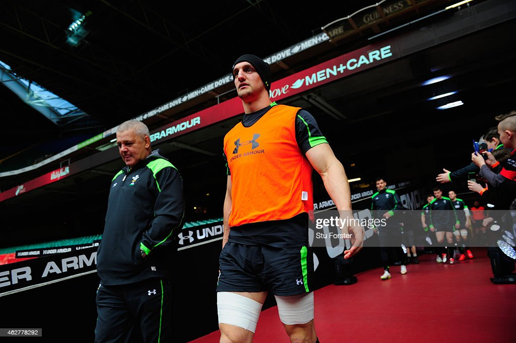 Wales captain Sam Warburton (r) and coach Warren Gatland enter the stadium before Wales training ahead of friday's opening Six Nations match against Wales at Millennium Stadium on February 5, 2015 in Cardiff, Wales.