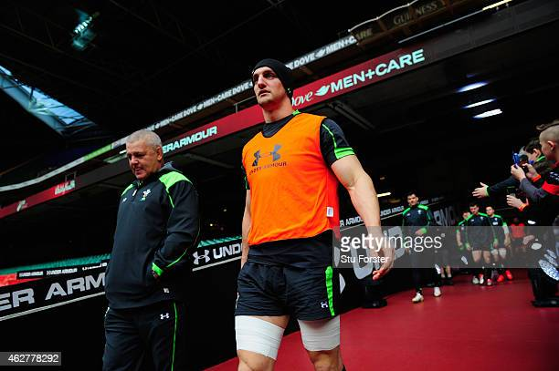 Wales captain Sam Warburton and coach Warren Gatland enter the stadium before Wales training ahead of friday's opening Six Nations match against...