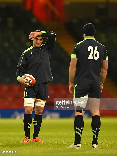 Wales captain Sam Warburton and Jamie Roberts chat during Wales training ahead of tomorrows test match against the Australia Wallabies at the...