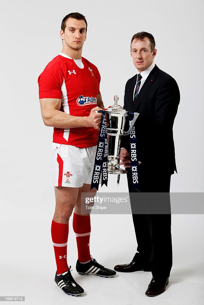 Wales captain Sam Warburton and Rob Howley the Wales interim head coach pose with the Six Nations trophy during the RBS Six Nations launch at The Hurlingham Club on January 23, 2013 in London, England.