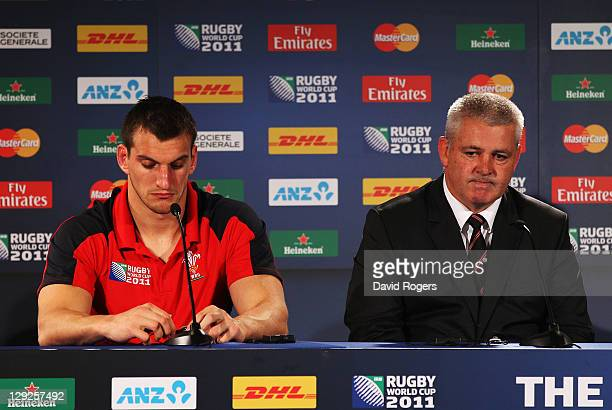 Wales captain Sam Warburton and Warren Gatland the head coach of Wales speak to the media at a post match press conference after semi final one of...
