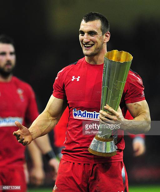 Wales captain Sam Warburton celebrates with the winners trophy after the Autumn international match between Wales and South Africa at Millennium...
