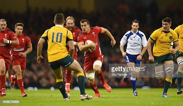 Wales captain Sam Warburton drives towards the try line during the Autumn international match between Wales and Australia at Millennium Stadium on...